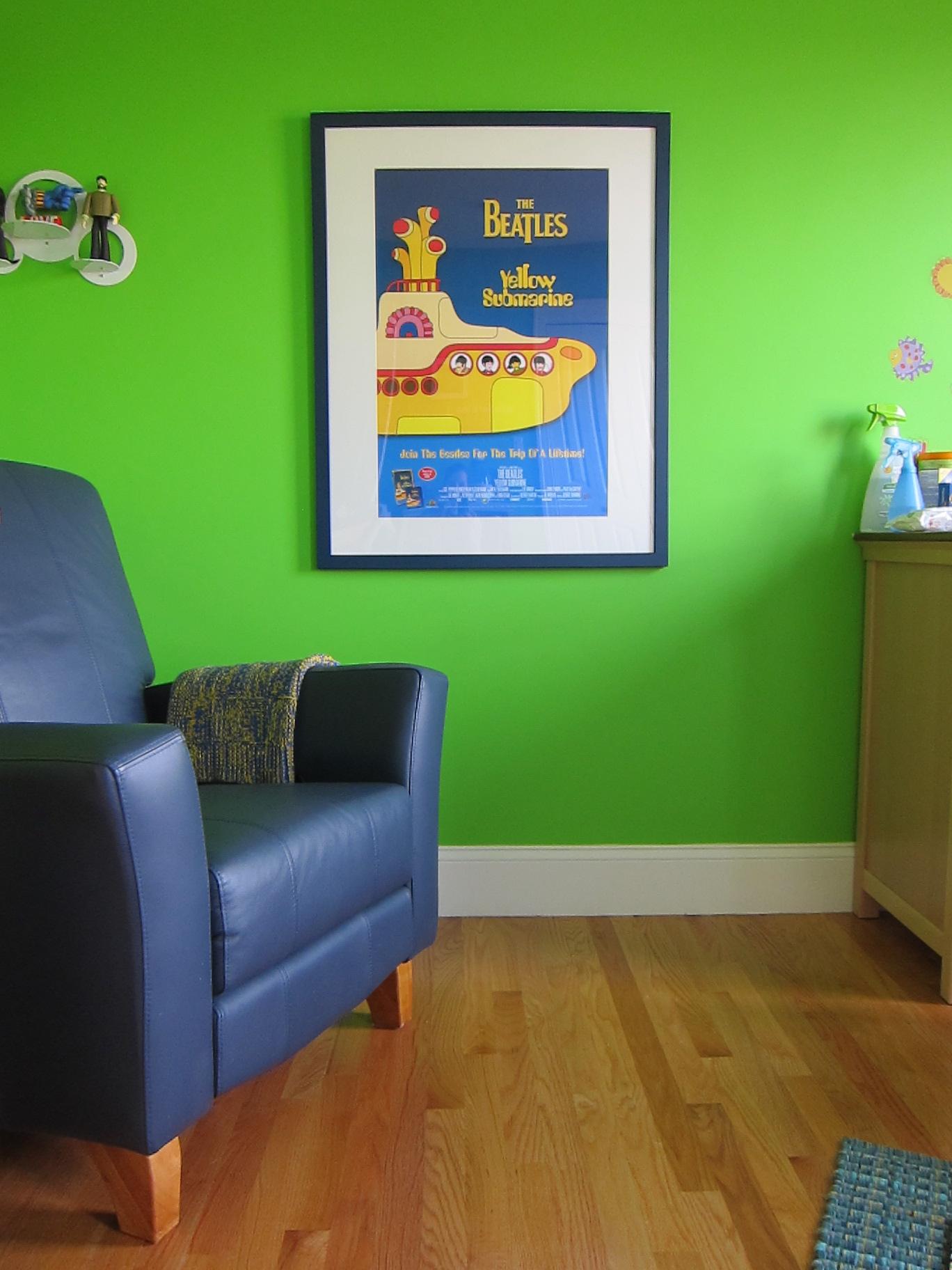 Glider and Framed Print - Yellow Submarine Nursery