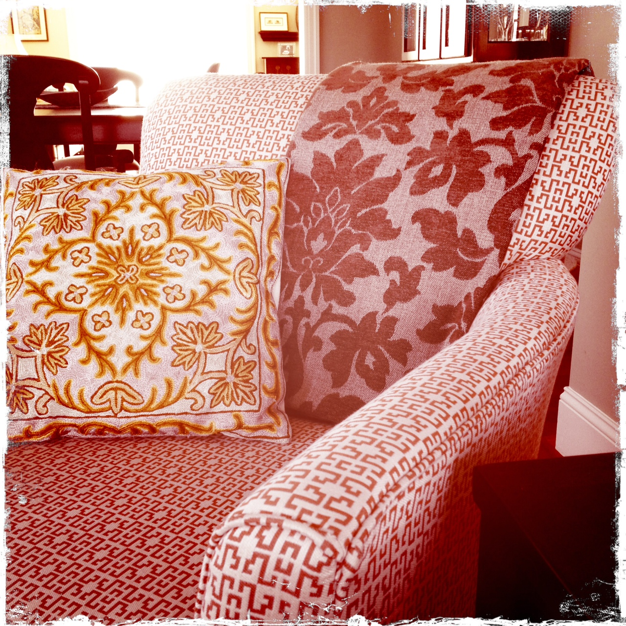 Pillow from India on Armchair