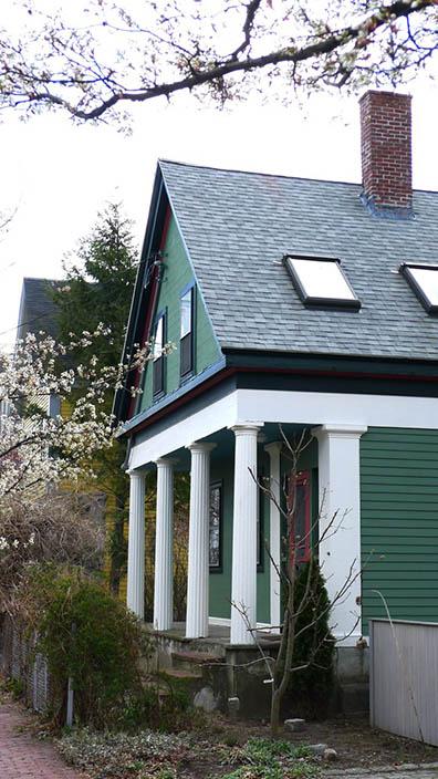 Green Greek Revival Cottage