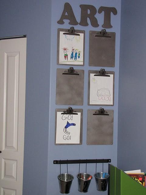 Kids Art on Clipboards