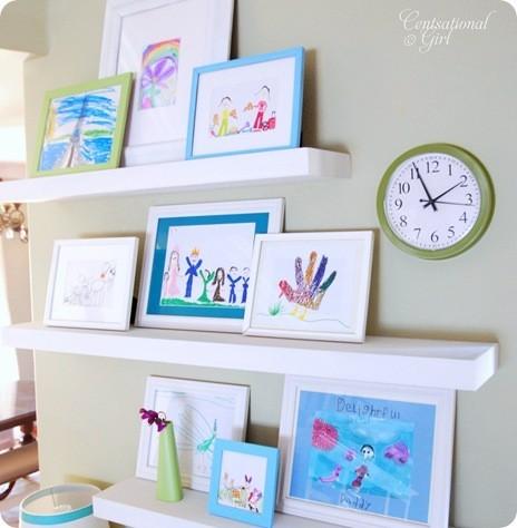 Kids Art Display on Ledges