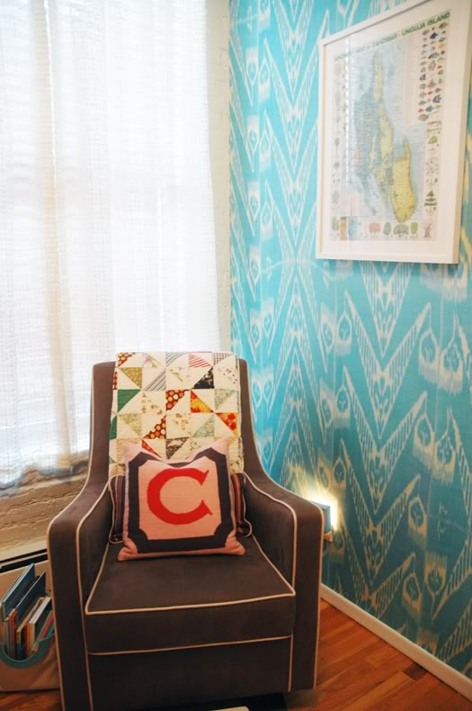 Nursery with Ikat Wallcovering