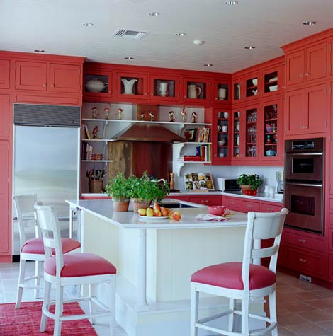Red Kitchen - Traditional Home