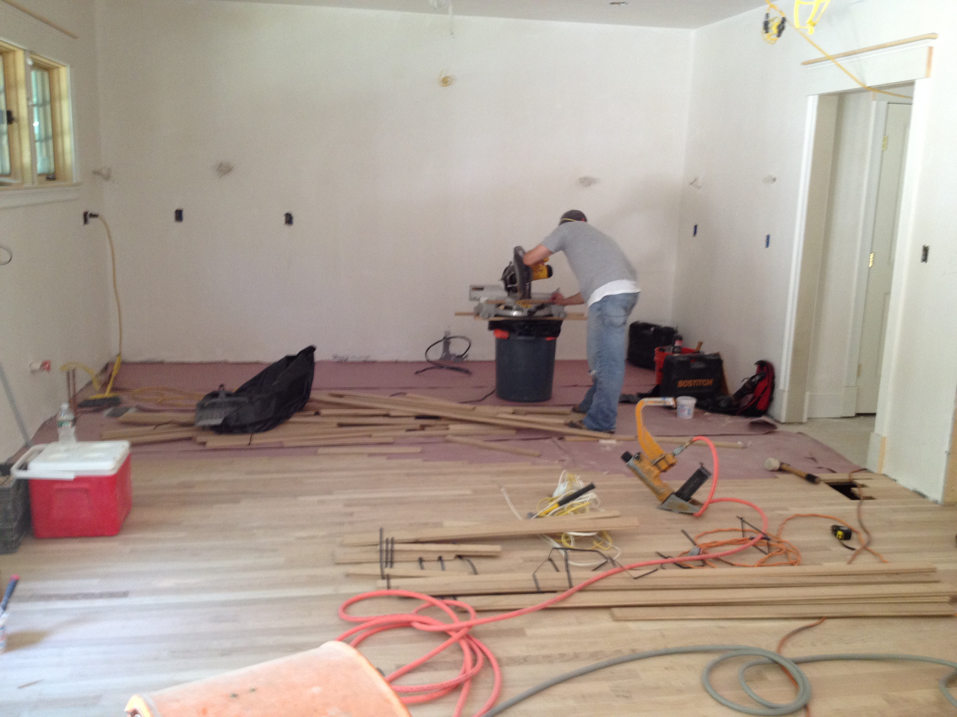Laying Down Flooring in the Kitchen