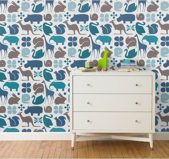 DwellStudio Gio Aqua Wallpaper