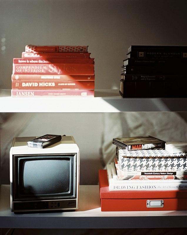 Black, White and Red All Over Styled Bookshelf - Lonny