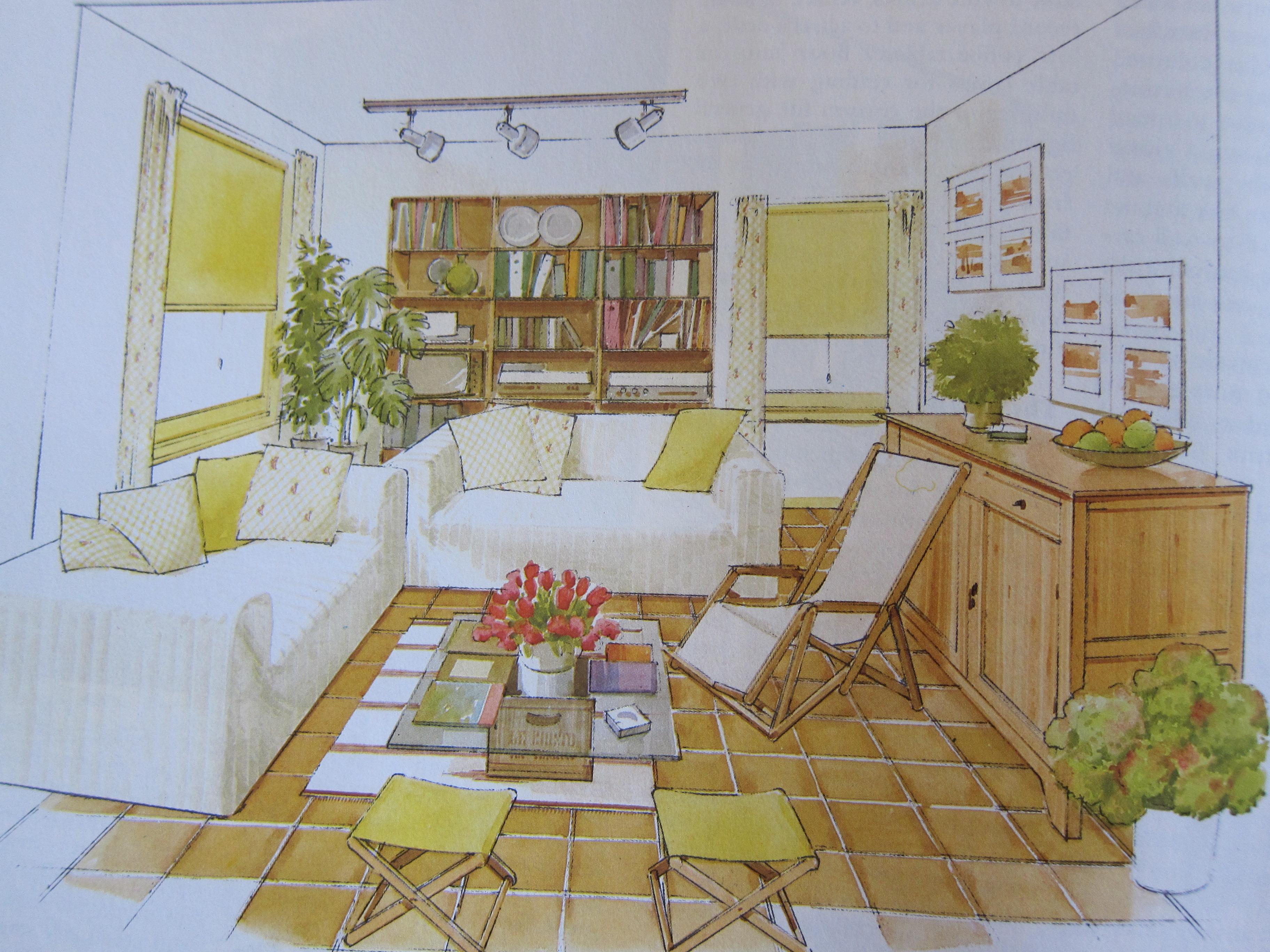 Interior Design Rendering from 1980s