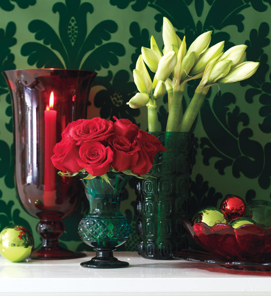Red and Green Flowers and Vases