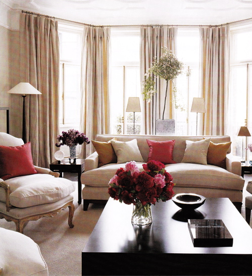 Pink Beige Curtains & Furniture