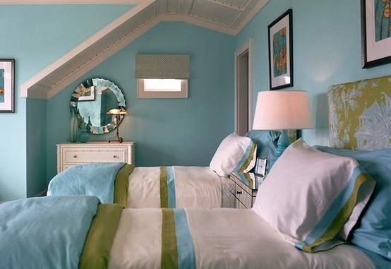 Turquoise, Green & White Twin Bedroom