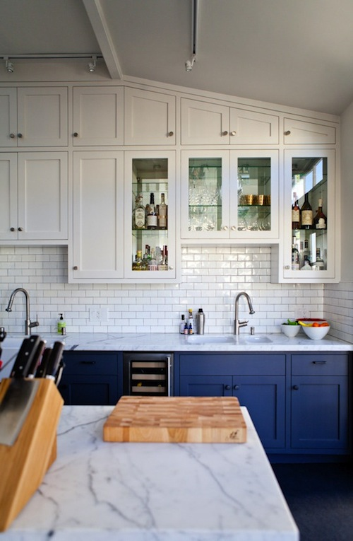 Blue Lower Cabinets with White Marble