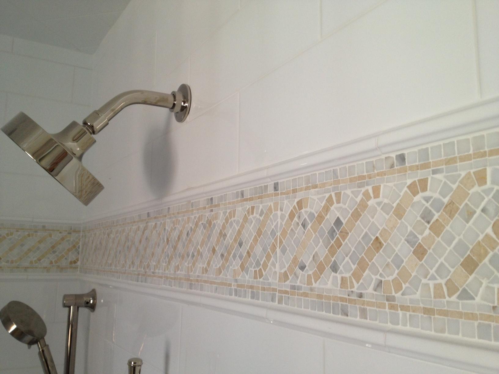 Mosaic Tile Border w/ Statuary & Crema Marfil