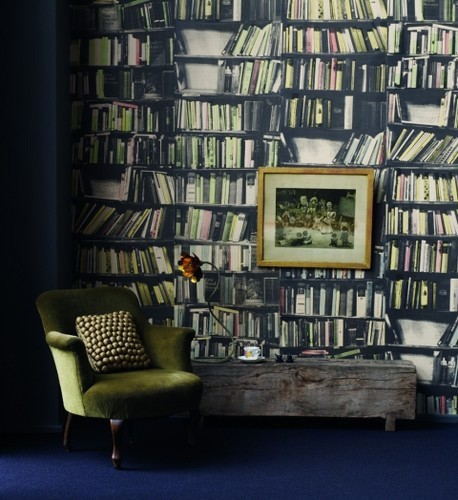 Genuine Fake Bookshelf Wallpaper - Deborah Bowness