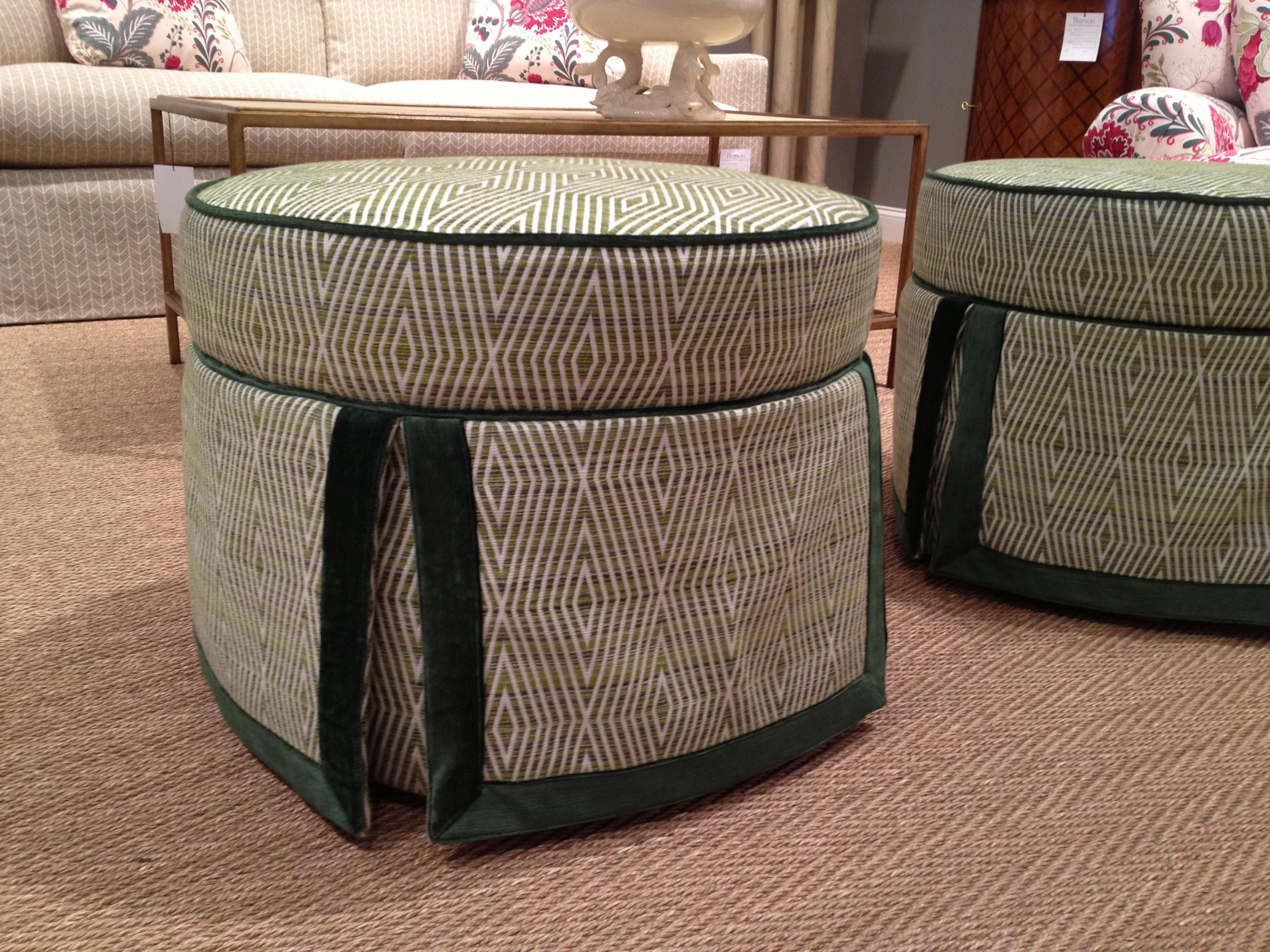 Pearson Furniture skirted ottoman with emerald green velvet welt and border #hpmkt