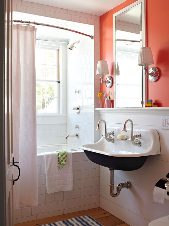 Black and White Bath w/ Bold Color - via BHG