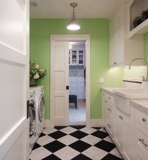 Fresh Green Laundry Room w/ Little Natural Light - via Interiors For Families