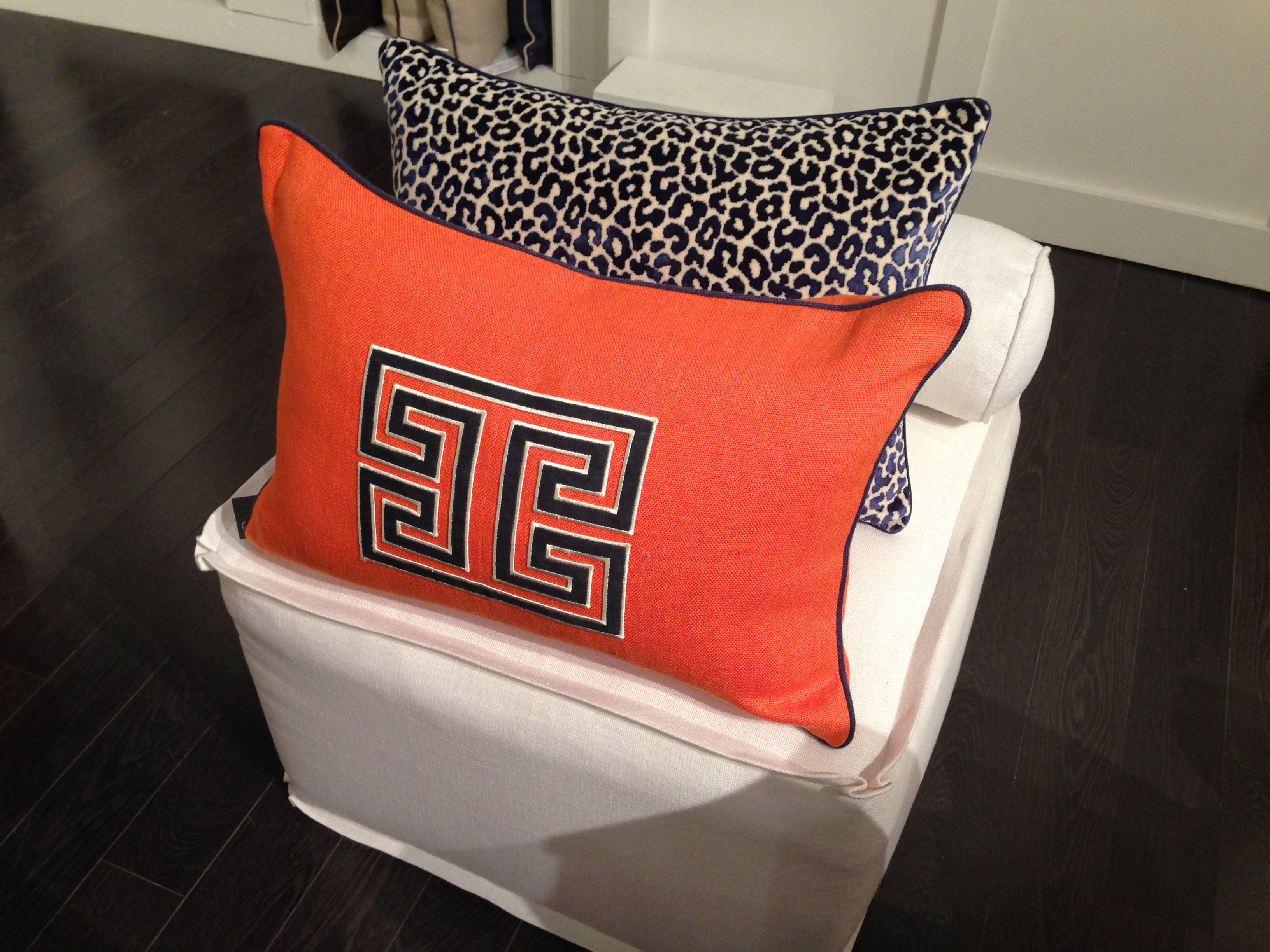 Ryan Studio Fret Applique Pillow | #hpmkt Spring 2014 | via Interiors For Families