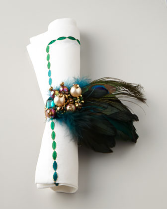 Kim Seybert Peacock Napkin Rings | via Interiors For Families