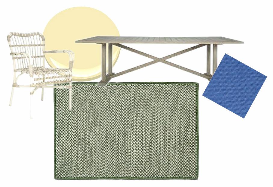 Deck Scheme with Herringbone Tweed Rug (Colonial Mills) | via Interiors For Families
