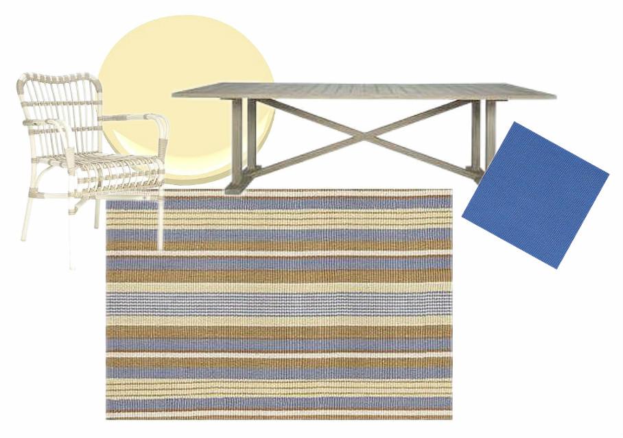 Deck Scheme with Cricket Green Stripe Rug (Bunny Williams for Dash & Albert) | via Interiors For Families