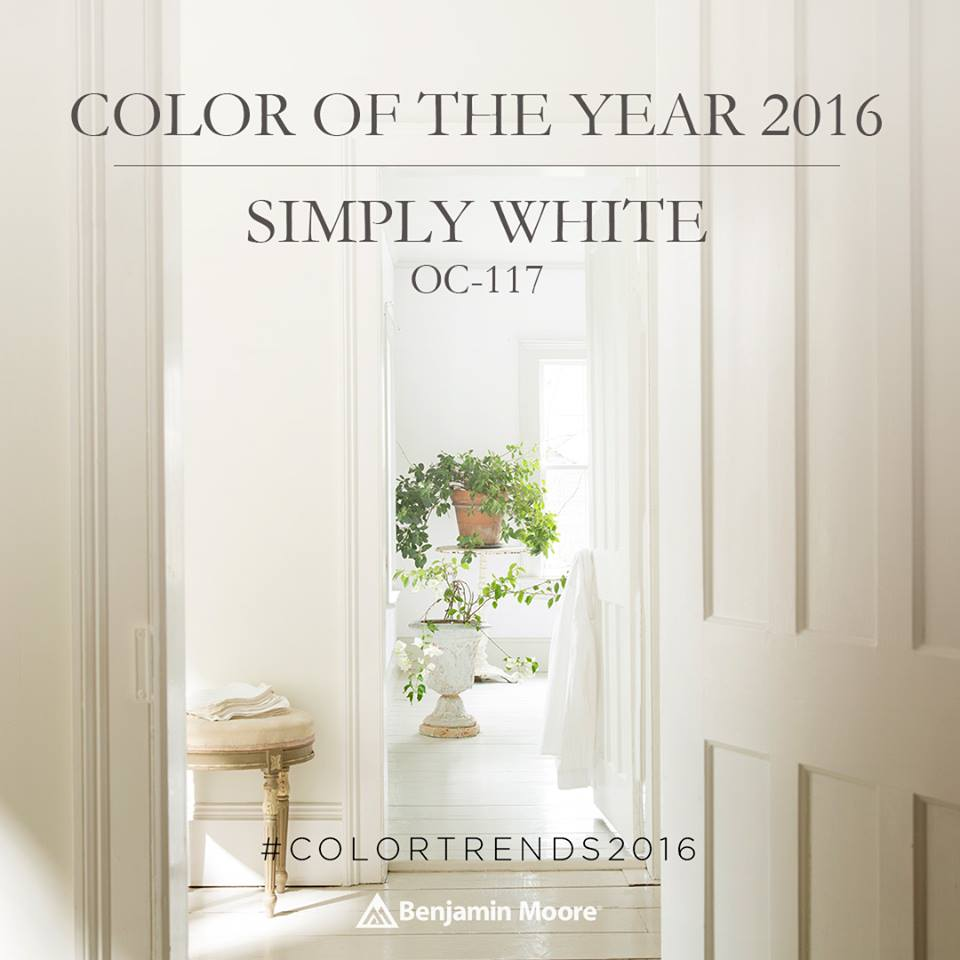 """Benjamin Moore 2016 Color of the Year """"Simply White"""" 