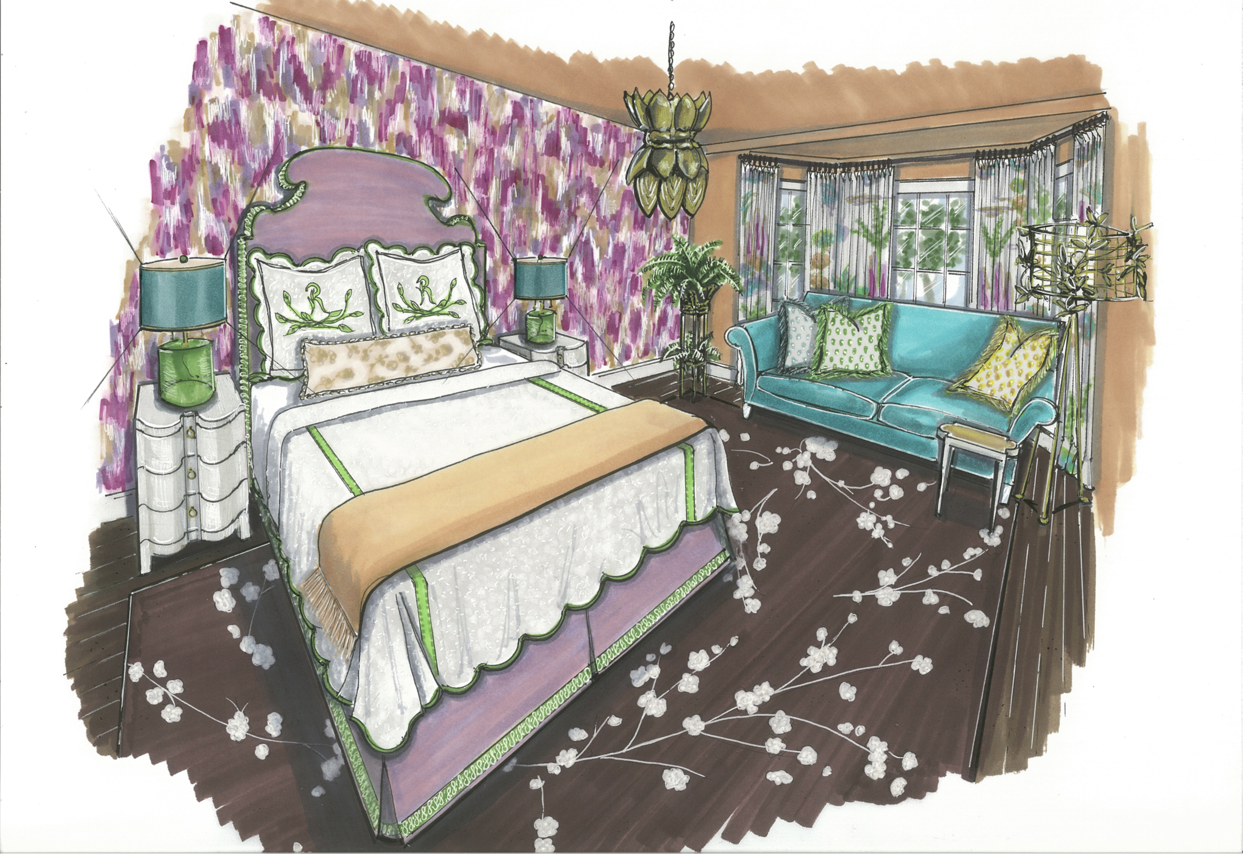 Junior League of Boston 2016 Show House Mother-in-Law Bedroom | Rendering by Jane Gianarelli | Kelly Rogers Interiors
