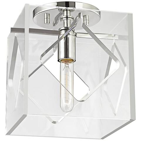 """Hudson Valley Travis 9"""" Wide Polished Nickel Ceiling Light via Lamps Plus   One Room Challenge   Kelly Rogers Interiors"""