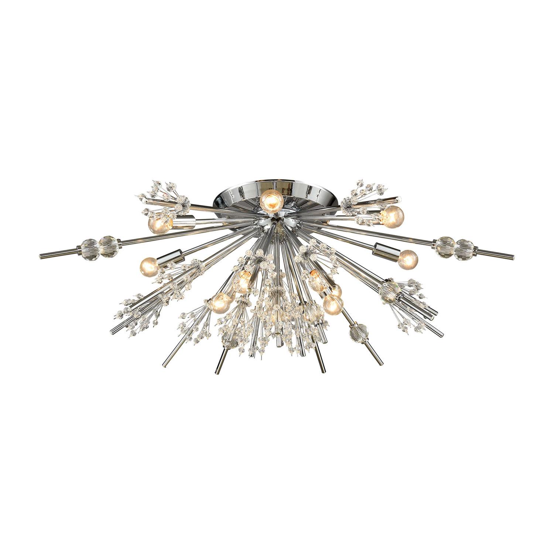 Elk Lighting Starburst Polished Chrome 34-Inch 12-Light Semi-Flush Mount via Bellacor   One Room Challenge   Kelly Rogers Interiors